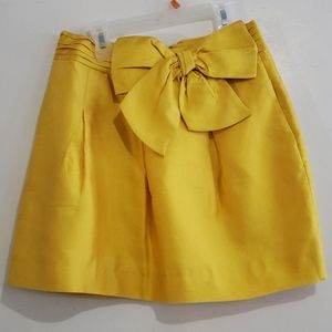 Kate Spade Yellow Bow Front Fully Lined Skirt Sz 4